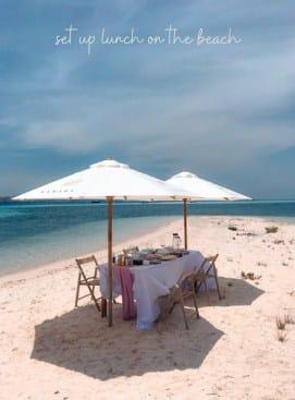 Lunch On The Beach, Salah Satu Special Set Up Private Charter Samara Liveaboard